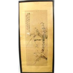 """Framed watercolor of """"Orchids"""" artist signed"""