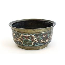 Chinese bronze & champleve enamel bowl