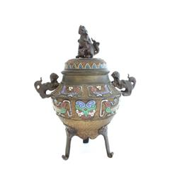 Chinese bronze & champleve incense burner