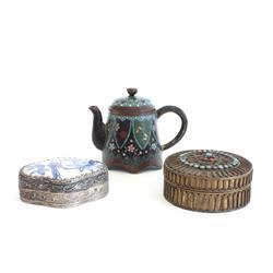 Cloisonne teapot & 2 metal boxes