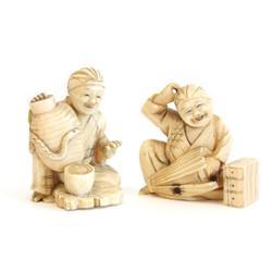 """2 ivory """"Buddha"""" figures"""