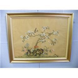 Oriental watercolor painting on silk