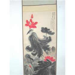 """Chinese scroll """"Lotus"""" black & white"""