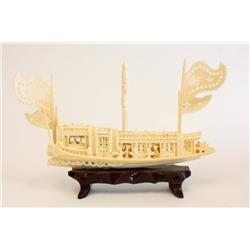 "Ivory Chinese carving ""Boat"" on stand"