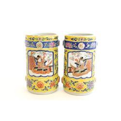 Pair Japanese scenic porcelain brush pots