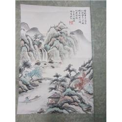 "Chinese scroll of ""Landscape, Man in a Boat"""