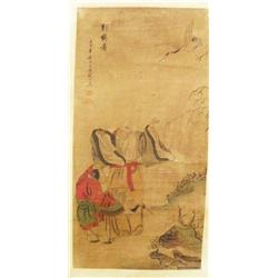 "Chinese scroll ""Scholar & Student with Crane"""