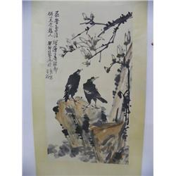 "Chinese scroll of ""2 Crows in a Tree"""