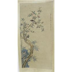 "Chinese scroll of ""2 Birds in a Tree"""