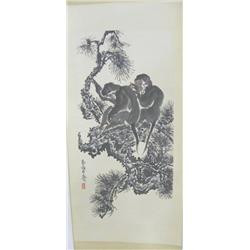 "Chinese scroll of ""2 Monkeys in a Tree"""