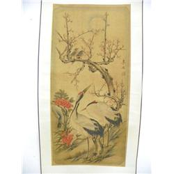 "Chinese scroll of ""Cranes & 2 Birds in a Tree"""